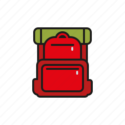 backpack, camping, equipment, ground pad, outdoors, rucksack, trekking icon