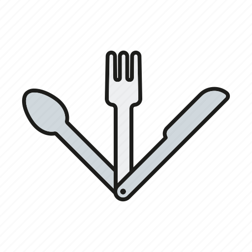 camping, cutlery, equipment, fork, knife, outdoors, spoon icon
