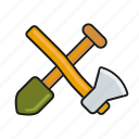 camping, equipment, outdoors, spade, tools, trekking, wood axe icon
