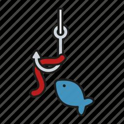 camping, equipment, fish, fishing, hook, outdoors, trekking icon