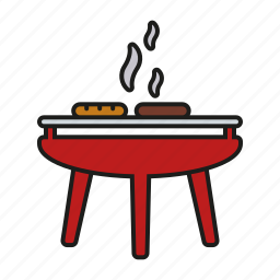 barbecue, camping, cooking, equipment, grill, outdoors, trekking icon