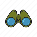 binoculars, camping, equipment, optics, outdoors, trekking icon