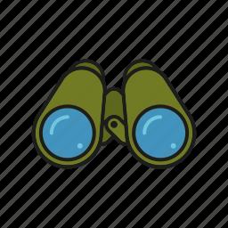 binoculars, camping, equipment, optics, outdoors, trekking icon