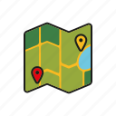 camping, equipment, map, navigation, outdoors, trekking icon