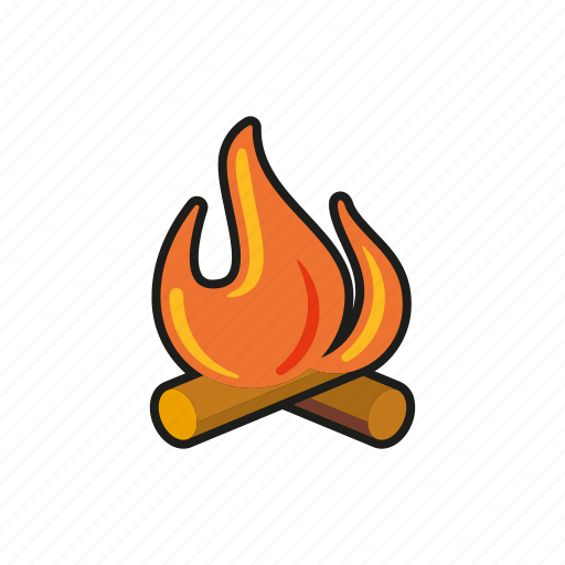camp fire, camping, equipment, flames, log fire, outdoors, trekking icon