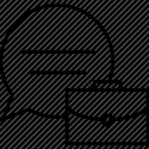 bag, bubble, business talk, communication, school bag icon