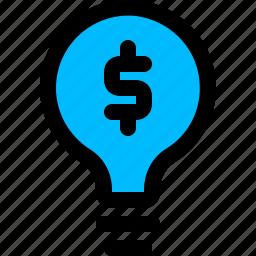 bulb, business, dollar, idea icon
