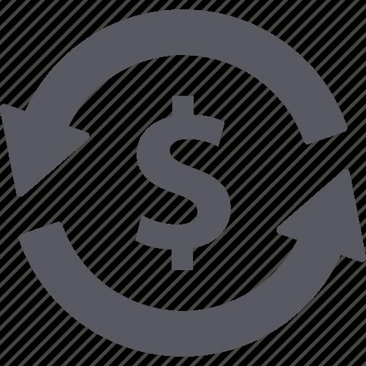 arrows, bank, dollar, exchange, finance, income, money icon