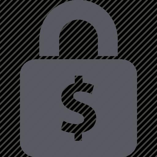 dollar, finance, insurance, lock, money, security icon