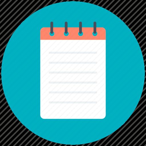 data, notepad, notes, records, steno pad icon