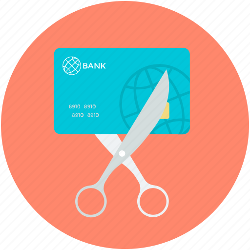 bankruptcy, buying, credit card, paying, scissor icon