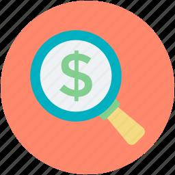 analysis, analytics, finance, financial, search dollar icon