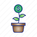 bussines, finance, interest, money tree icon