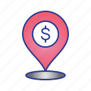 bank, bussines, finance, location, maps, place icon