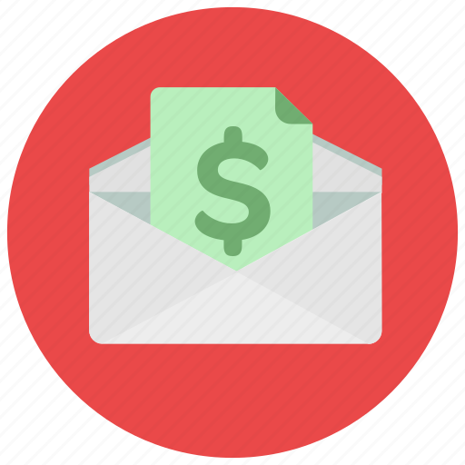 bill, dollar, envelope, finance, money icon