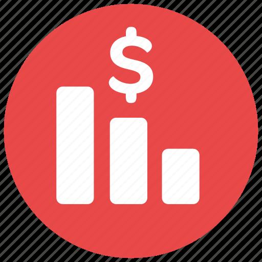 analytics, chart, fall, money, specifics icon