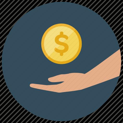coin, dollar, finance, money, recieve icon
