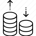 coins stack, economy, loss, profit, up and down icon