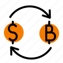 bitcoin, change, dollar, finance, money icon
