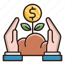 business, capital, finance, growth, investments, plant icon