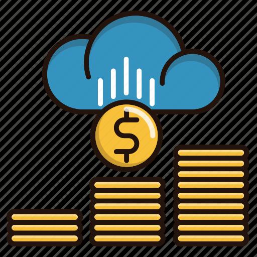 business, cloud, finance, making, money, online icon
