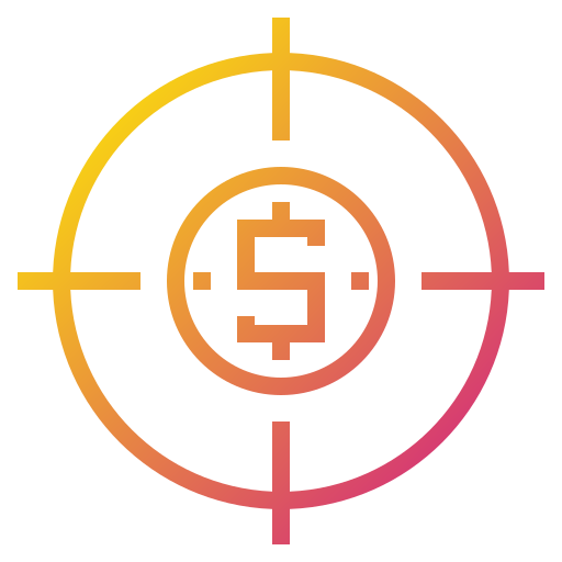 business, finance, financial, money, target icon