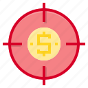business, finance, financial, marketing, money, target icon