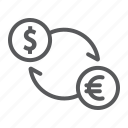 banking, currency, dollar, euro, exchange, finance, sign icon