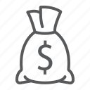 bag, banking, cash, dollar, finance, income, money icon