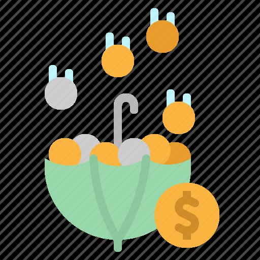 chance, coin, money, save, umbrella icon