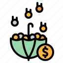 chance, coin, money, save, umbrella icon
