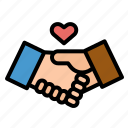 agreement, business, coworker, hands, handshake icon