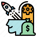 creative, head, idea, investment, money icon