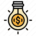 bulb, business, growth, investment, money icon