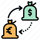 bag, exchange, hand, loan, money icon