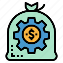 business, coin, finance, management, money icon