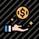 coin, dollar, hand, money, payment