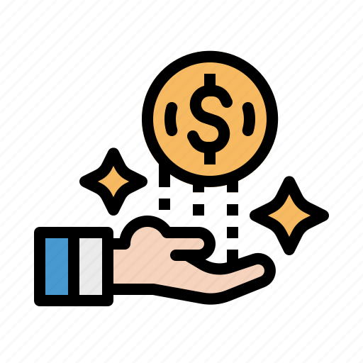 coin, dollar, hand, money, payment icon