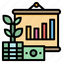 bills, dollar, growth, money, plant icon
