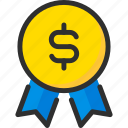 achievement, business, dollar, finance, medal, verified icon