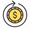 business, circulating, financial, money, wallet icon