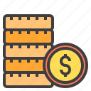 business, coins, dollar, financial, money, wallet icon
