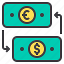 business, exchange, financial, money, wallet icon