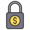 business, financial, lock, money, wallet icon