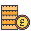 business, coins, financial, money, pound, wallet icon