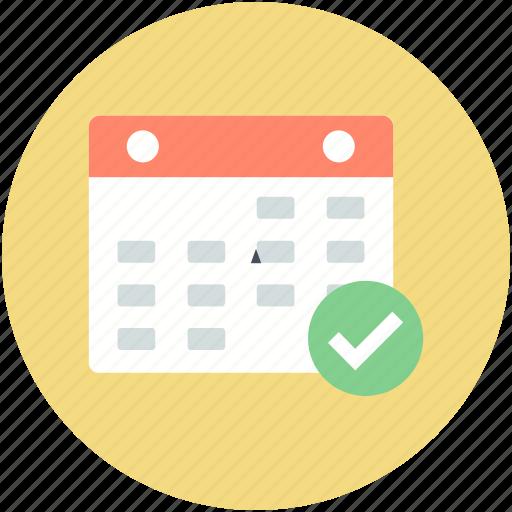calendar, checkmark, date, day, wall calendar, yearbook icon