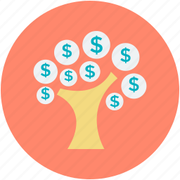dollar leaves, dollar signs, economy, financial achievement, money tree icon