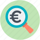 analysis, analytics, finance, financial, search euro icon