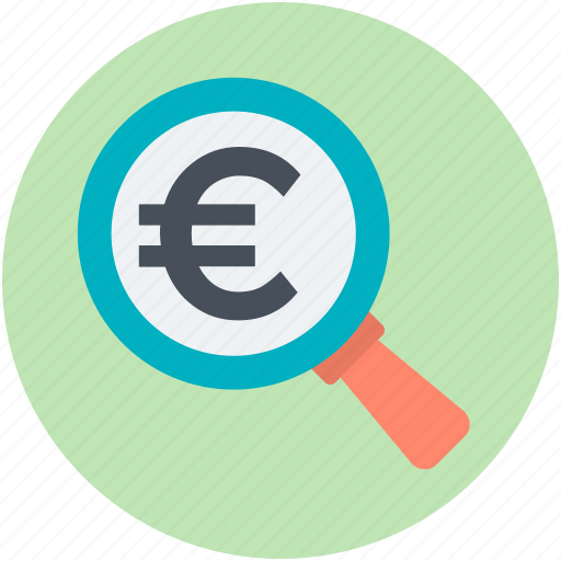 analysis, analytics, finance, financial, search euro icon