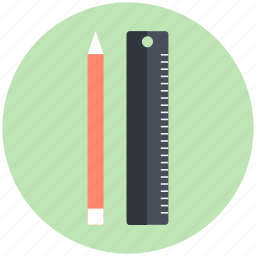 drafting, drawing equipment, drawing tools, pencil, ruler icon